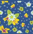 hand drawn flowers flat seamless blue background vector image