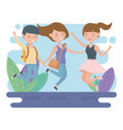 happy friends celebrating jumping in field vector image