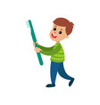 happy little boy carrying giant toothbrush vector image vector image