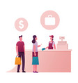 happy people standing at counter desk with vector image