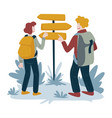 hikers and direction pointer man and woman vector image vector image