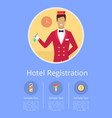 hotel registration internet page with receptionist vector image vector image