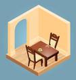 isometric cartoon table and chairs vector image