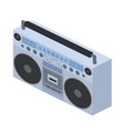 isometric flat boombox cassette recorder vector image