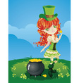 Leprechaun Girl on Grass Field vector image vector image