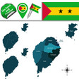 map of sao tome and principe with named districts vector image vector image