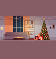 modern living room with winter holidays vector image vector image