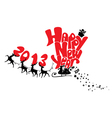 New Year card with flying reindeers 2013 vector image vector image