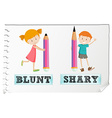Opposite adjectives blunt and sharp vector image vector image