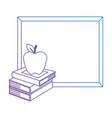 pile text books with chalkboard and apple vector image vector image
