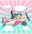 pop art business woman riding vintage airplane vector image vector image