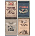 professional fishing store and camp retro posters vector image vector image