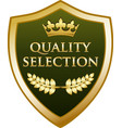 quality selection gold shield vector image vector image