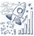 Rocket flies up the graph vector image vector image