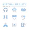 set color line icons virtual reality vector image vector image