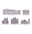 set line isolated european religion buildings vector image vector image