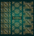 Set of golden lace pattern green vector image