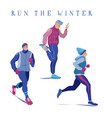 set of men warming up running jogging in winter vector image
