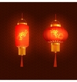 Set of red Chinese lanterns Round and cylindrical vector image vector image