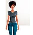 Sexy coquette dark skin woman full body portrait vector image