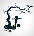 Silhouettes of scarecrow pumpkins bat and tree vector image