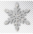 silver snowflake isolated on a transparent vector image vector image