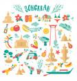 songkran celebration party set icons vector image vector image