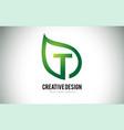 t leaf logo letter design with green leaf outline vector image vector image