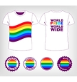 t-shirt with rainbow flag vector image