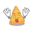 tongue out nachos mascot cartoon style vector image vector image
