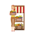 Woman Selling Farm Vegetables On The Market vector image vector image