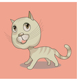 Cute funny cat on pink background vector image