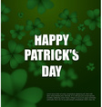 Happy day of Patrick Green clover 3D Green vector image