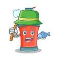 fishing aerosol spray can character cartoon vector image
