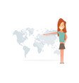 girl smiling and showing to the world map vector image