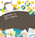 Office Supplies and Stationery Background Frame vector image