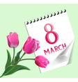 8 March greeting card with tulips vector image