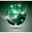 Abstract 3D emerald gala sphere with gemstone vector image vector image