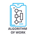 algorithm of work thin line icon sign symbol vector image vector image
