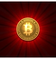 Bitcoin on red background vector image vector image