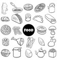 black and white food objects big set cartoon vector image