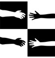 black and white hands vector image vector image