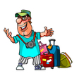 cartoon cheerful man with suitcases vector image vector image