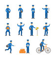 cartoon color postman male characters set vector image vector image