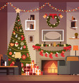christmas and new year decoration of living room vector image vector image