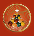christmas baubles tree and golden border on red vector image vector image