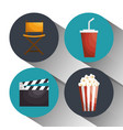cinema entertainment elements icons vector image