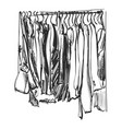 clothes on the hanger outerwear dress and coat vector image vector image