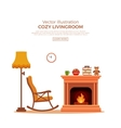 cozy fireplace room interior vector image