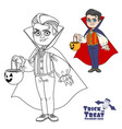 cute boy in vampire costume with a pumpkin bag vector image vector image